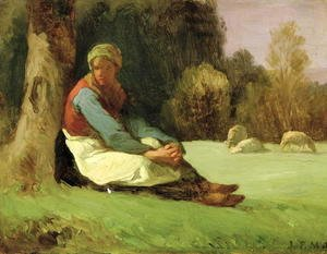 Jean-Francois Millet - Seated Shepherdess