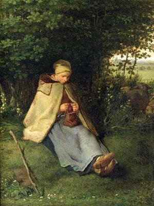 Jean-Francois Millet - The Knitter or, The Seated Shepherdess, 1858-60