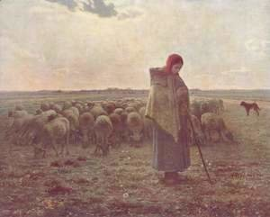 Jean-Francois Millet - Shepherdess with her Flock, 1863