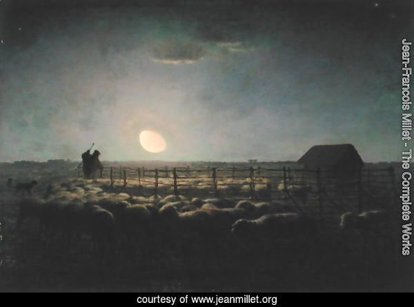 The Sheepfold, Moonlight, 1856-60