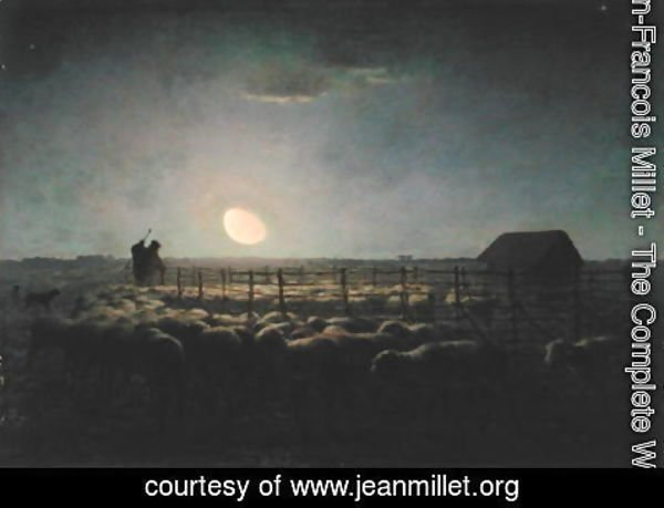Jean-Francois Millet - The Sheepfold, Moonlight, 1856-60