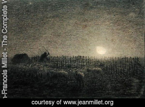 Jean-Francois Millet - The Shepherd at the Fold by Moonlight