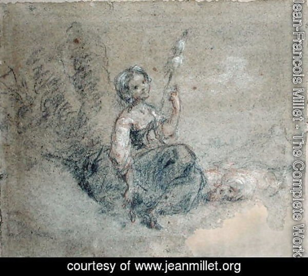 Jean-Francois Millet - A Young Shepherdess Spinning