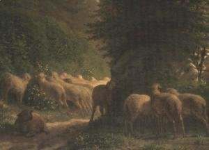Jean-Francois Millet - Sheep grazing along a hedgerow