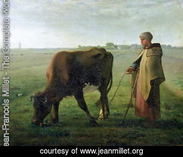 Jean-Francois Millet - Woman Grazing her Cow, 1858