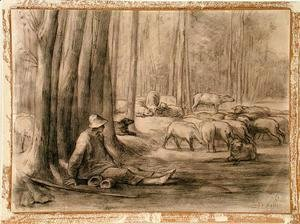 Jean-Francois Millet - The drinking place in the forest