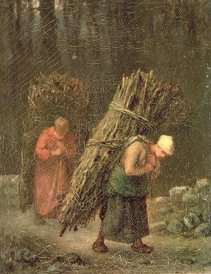 Jean-Francois Millet - Peasant Women with Brushwood, c.1858