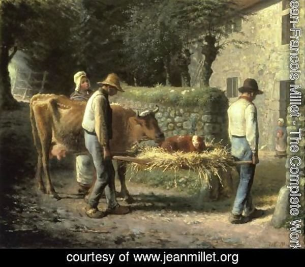 Jean-Francois Millet - Peasants Bringing Home a Calf Born in the Fields