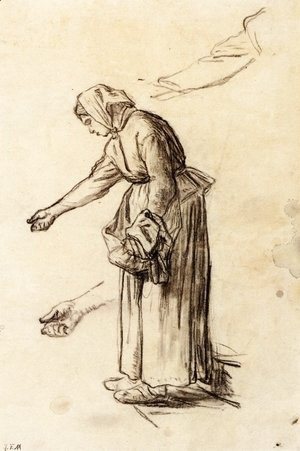 Jean-Francois Millet - Study for a Woman Feeding Chickens