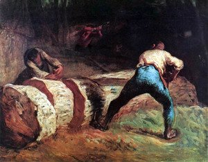 Jean-Francois Millet - Forest workers in the wood saws