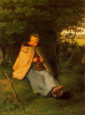 Jean-Francois Millet - Woman making Cross-stitch