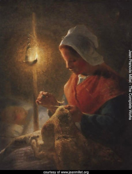 Woman Sewing By Lamplight 1870-1872