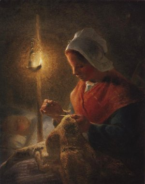 Jean-Francois Millet - Woman Sewing By Lamplight 1870-1872