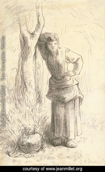 Jean-Francois Millet - Milkmaid Leaning against a Tree