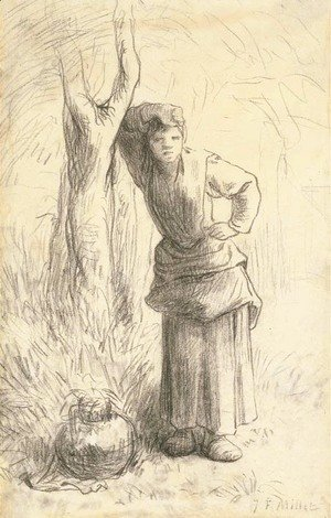 Milkmaid Leaning against a Tree