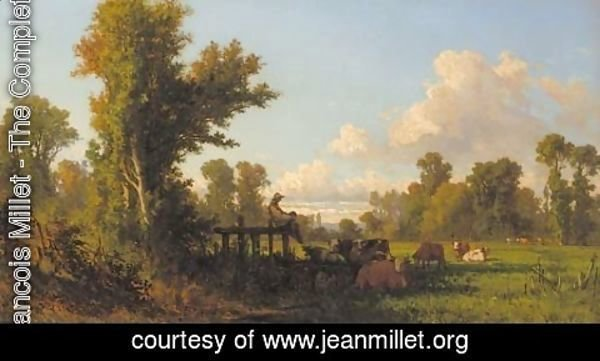 Jean-Francois Millet - A cowherd watching over his flock in the shade