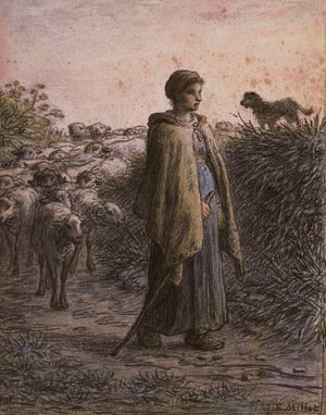 Jean-Francois Millet - A sherpherdess with her flock, a dog on a bank to the right
