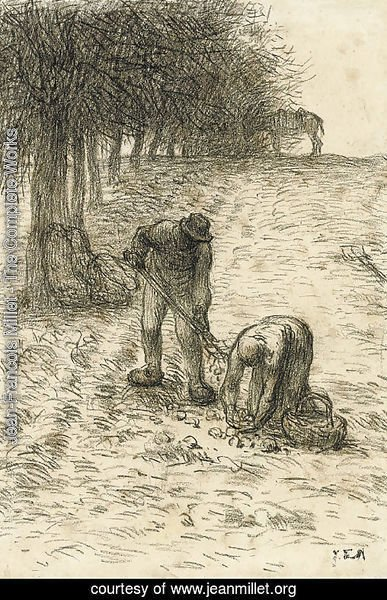 Peasants digging for potatoes, a donkey seen beyond