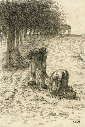 Jean-Francois Millet - Peasants digging for potatoes, a donkey seen beyond