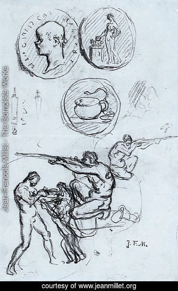 Three studies for antique coins, hunters and a man with a lion