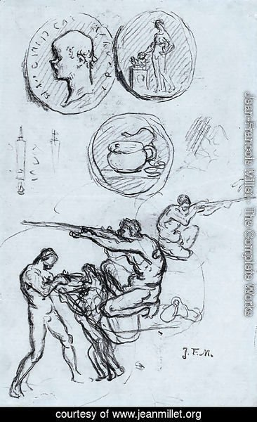 Jean-Francois Millet - Three studies for antique coins, hunters and a man with a lion