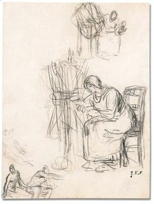Jean-Francois Millet - A woman spinning and other figures