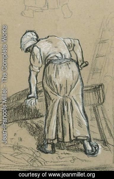 Study Of A Woman Breaking Flax