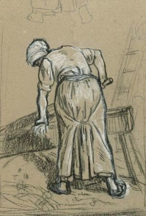Jean-Francois Millet - Study Of A Woman Breaking Flax