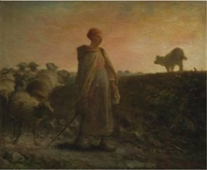 Jean-Francois Millet - Shepherdess Returning With Her Flock