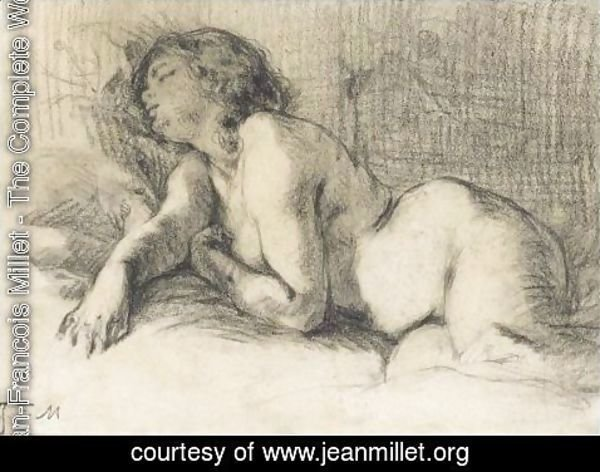 Jean-Francois Millet - A Reclining Female Nude