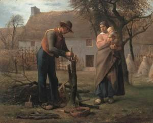 Jean-Francois Millet - Farmer Inserting a Graft on a Tree