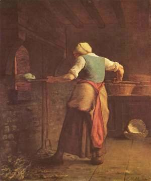 Jean-Francois Millet - Woman baking bread