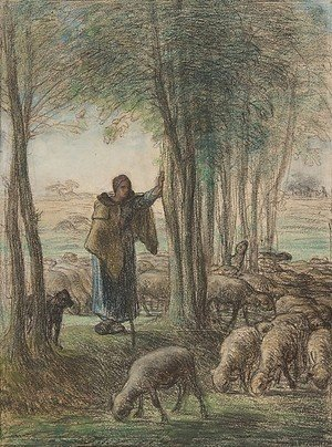 Jean-Francois Millet - A Shepherdess and Her Flock in the Shade of Trees