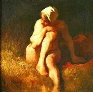 Jean-Francois Millet - Naked peasant girl at the river