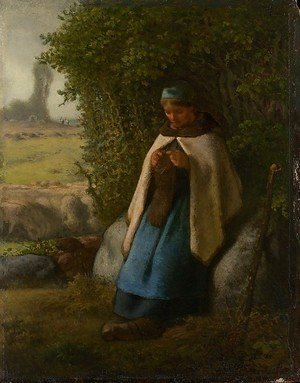 Jean-Francois Millet - Shepherdess Seated on a Rock