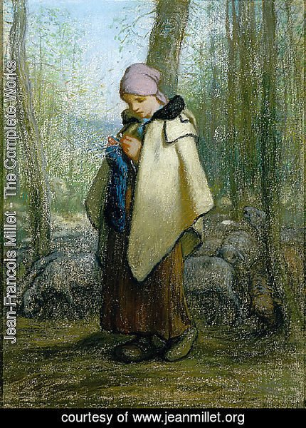 Jean-Francois Millet - The Knitting Shepherdess