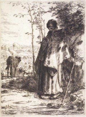 Jean-Francois Millet - The Large Shepherdess