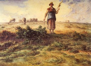 Jean-Francois Millet - A Shepherdess And Her Flock