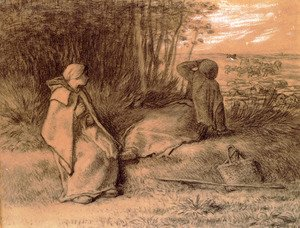 Jean-Francois Millet - Shepherdesses Seated In The Shade